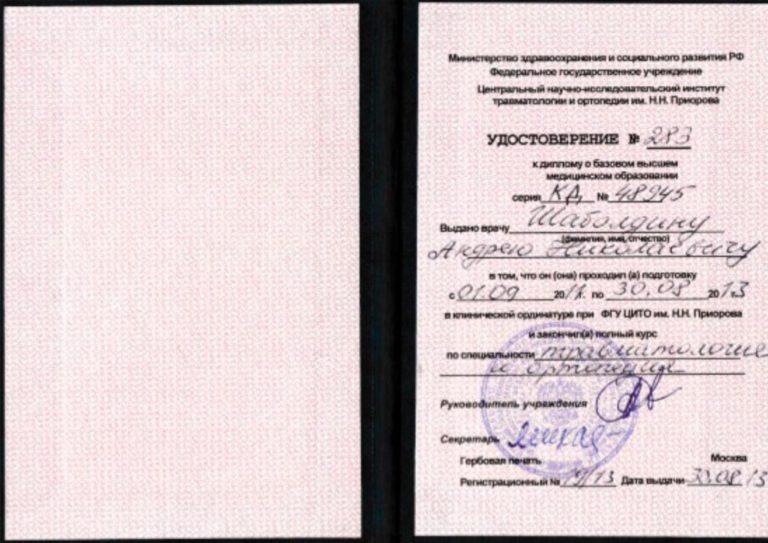 Шабоддин удостоверение 283